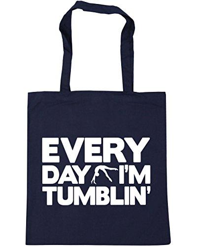 Gym Beach Tote x38cm litres Shopping Everyday Tumblin' 10 Bag Navy French Gymnastics I'm 42cm HippoWarehouse YqC4Bwgx