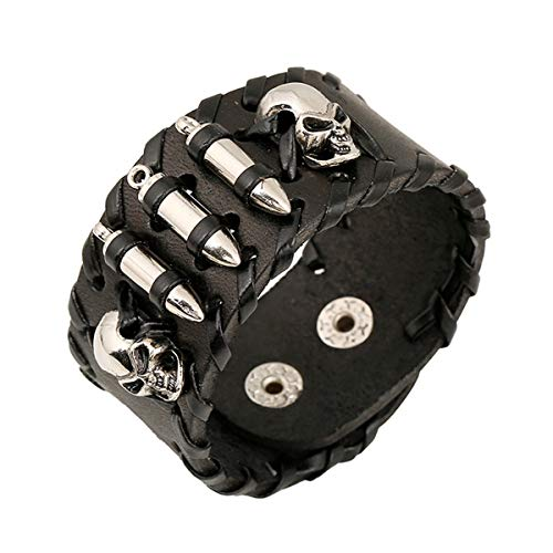 SG Men's Black Metal Skull Spike Studded Punk Rock Biker Wide Strap Leather Bracelet Chain Wristband