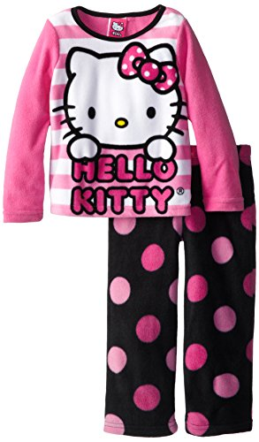 Hello Kitty Little Girls' Dots and Stripes Cozy Fleece Pajama Set, Multi, 6