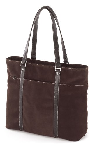 Mobile Edge Ultra Laptop Tote Bag, Chocolate Brown Suede, Fits 16 Inch PC and 17 Inch MacBook, SafetyCell Computer Protection Compartment, for Women, Business, Students METL08 ()