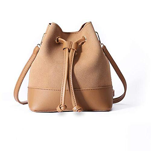 Price comparison product image GXF Women's Drawstring Bucket Bag Simple Fashion PU and Microdermabrasion Single Shoulder Messenger Bag, Brass