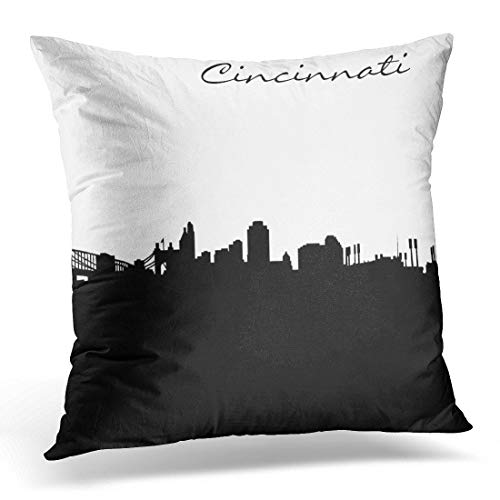 (Deeoor Throw Pillow Cover Black White City of Cincinnati Ohio Skyline Furnishings Decorative Pillow Case Home Decor Square 18 x 18 Inch)