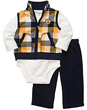 Carters Infant Boys 3 Piece Plaid Outfit Pants Thermal Creeper & Jacket Vest