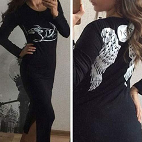 滞在伝染性文字Ccoco Women Crewneck Wing Bodyconセクシーなスプリットロングスリーブロング快適なセールススタイリッシュなソフトS/M / L/XL Maxi Sundress Dress-black-L
