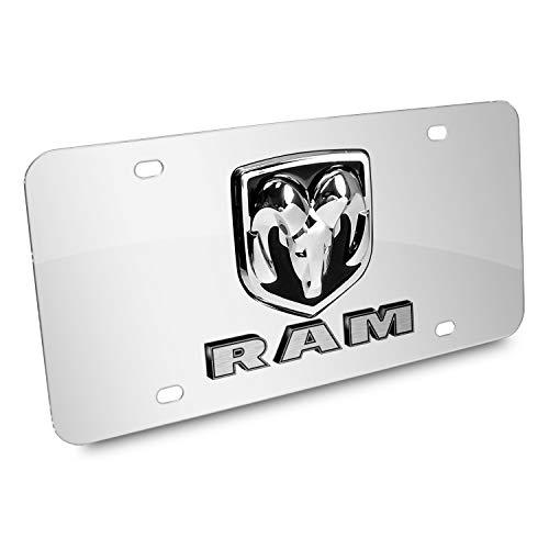 iPick Image Dodge RAM 3D Logo Mirror Chrome Stainless Steel License ()