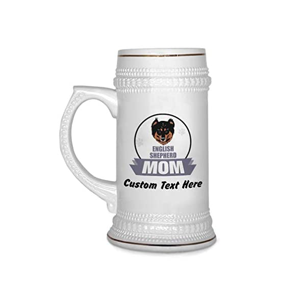 Custom Beer Mug Mom English Shepherd Dog Ceramic Drinking Glasses Beer Gifts White 18 OZ Personalized Text Here 1