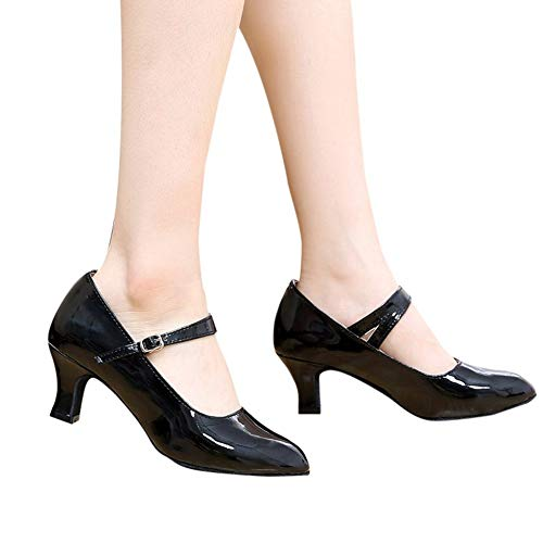 Skate Cat Shoe Mid - Women's Buckled Dressy Round Toe Low Cut Block Mid Heel Pumps Shoes Patent Leather with Ankle Strap by Lowprofile Black