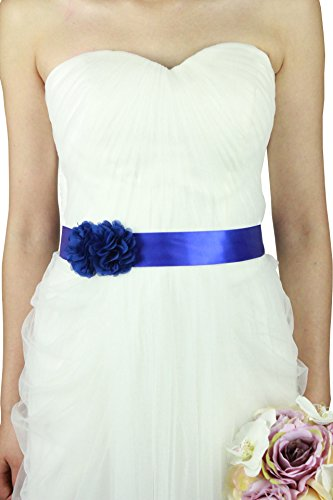 Simple Flowers Belts/sashes for Wedding/party/bridal Dress A06 in 12 Colors (Royal - Sash Blue
