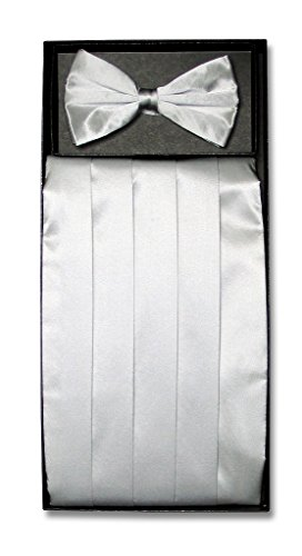 SILK Cumberbund BowTie Solid SILVER GRAY Color Men's Grey Cummerbund Bow Tie Set (Cummerbund Silver)