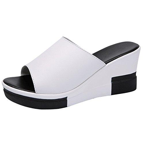 Vacances Tongs Femme Eté Sandales Mode de Mule Vintage Blanc Confortable Frestepvie Chaussure Plage Compensée nfTUT7