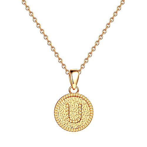 IEFSHINY Initial Necklace Gifts for Mothers - 14K Gold Filled Tiny First Initial Necklaces Dainty Disc Pendant Alphabets Monogram Necklaces Jewelry Birthday Gifts Ideas for Mom Wife Daughter