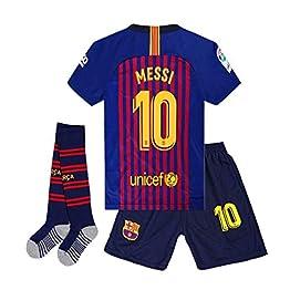 Brosin T-Shirt De Football, N ° 10 Messi Combinaison De Sport, Maillot De Barcelone, Maillot De Coupe du Monde Argentine, Vêtement De Sport De Football , T-Shirt De Football pour Garçon, Convient Et Aux Enfants