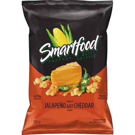 Frito Lay Smartfood Jalapeno & Cheddar Ready to Eat Popcorn, 180g/6.34oz. (Imported from Canada)