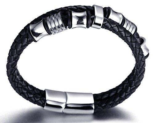 Halukakah-SOLO-Herren-Echt-Leder-Armband-Schwarz-mit-Titan-Perlen-Silber-846215cm-Magnetisch-mit-Kostenlosem-Geschenkbox