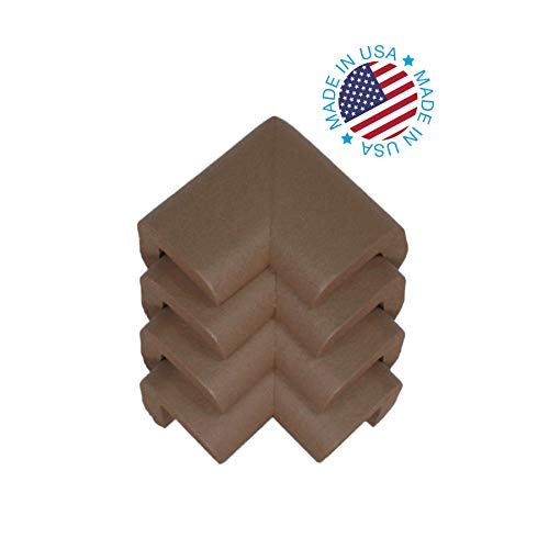 Kidkusion 4-Piece Safety Corner Cushion; 4 Pack Brown; Child Proofing Corner Guard; Made in USA; Child Safety, Home Furniture Safety Bumper, Baby Proof Table Protector from KidKusion