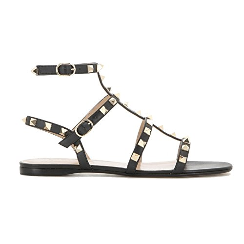MERUMOTE Women's Rivets Studs Strap Flats Summer Daily Buckle Flat Sandals178-Black 10 US