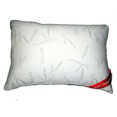 Bamboo Alternative Down Pillow - Hypoallergenic Soft Polyester - Memory Foam Liner Machine Washable - Removable Cooling Cover - More Comfortable Than Shredded Memory Foam - 30 Day Guarantee! (Queen)