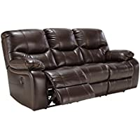 Ashley Furniture Signature Design - Pranas Recliner Sofa - 1 Touch Power Reclining - Brindle Brown