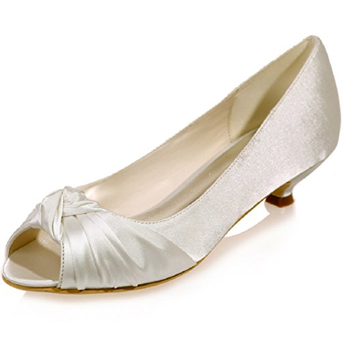 Sarahbridal Peep Toe Dresses Party Satin Low Heels Shoes Bridal Wedding Shoes Slip-On With Flowers For Girls Size SZXF0700-15 Ivory-16A 2aWJrUN