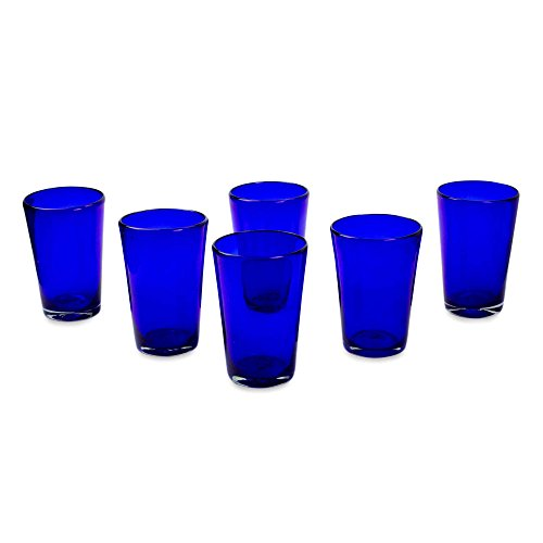 NOVICA Artisan Crafted Hand Blown Blue Recycled Glass Water Glasses, 16 oz. 'Cobalt Angles' (set of 6) -