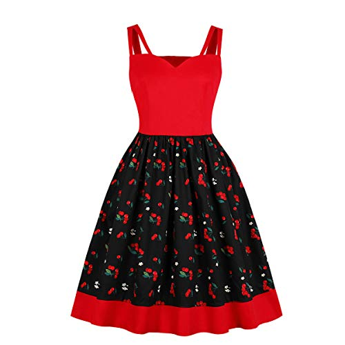 - Wellwits Women's Cutout Wide Strap Cherry Print Vintage Dress Swing Sundress XL