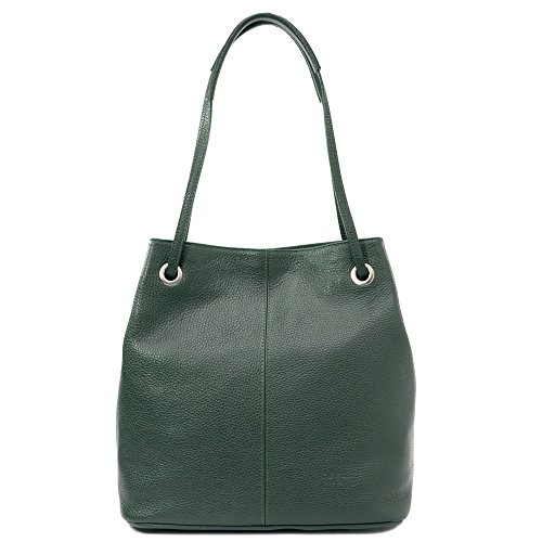 Sabrina - Bolso de hombro para mujer en cuero genuino - 100% Made in Italy Firenze - Dimensioni: 30x29x14cm (LxHxL) - EdgeModaStyle verde