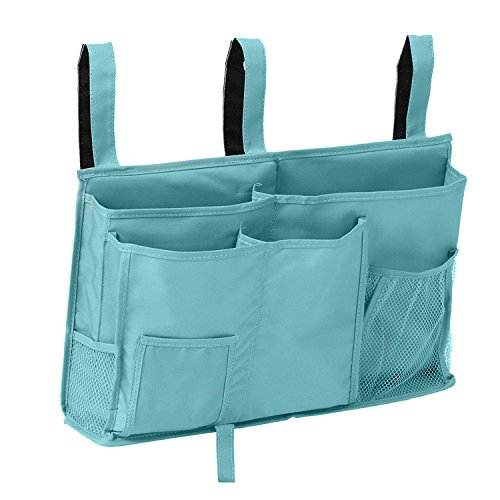 Price comparison product image MT Bedside Caddy - Hanging Bedside Storage Organizer Bags with 8 Pockets for Bunk Beds and Hospital Bed(Blue)
