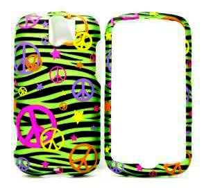 Colorful Peace Sign on Green Zebra Strips Rubberized Snap on Hard Skin Shell Protector Cover Case for Htc Mytouch 3g Slide