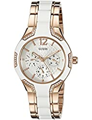 GUESS Womens U0556L3 Sporty Rose Gold-Tone Watch with White Dial , Crystal-Accented Bezel and White Center Link...