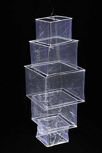 Quasimoon PaperLanternStore.com White 5 Tier Square Shaped Sari Lantern -