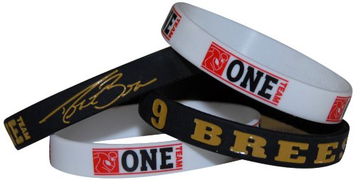 NFL New Orleans #9 Drew Brees Official Signature Wristband With Bonus NFLPA One Team Football Wristband (Medium)
