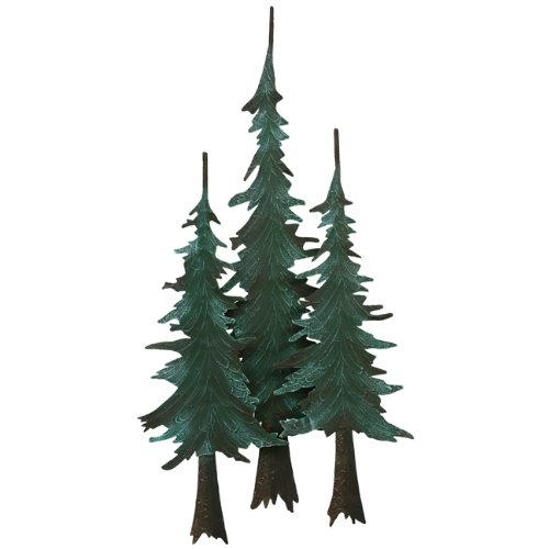 Pine Wall Sculpture - Black Forest Decor Metal Pine Tree Wall Cabin Sculpture