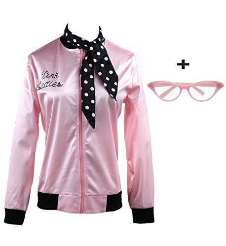 (zhongyichen 1950s Pink Satin Jacket with Neck Scarf T Bird Halloween Costume Fancy Dress (XXL,)