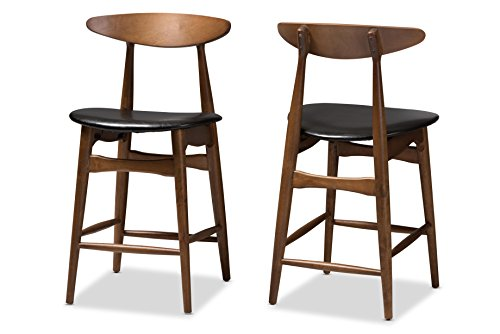 (Baxton Studio 144-424-8073-AMZ Floretta Bar Stool, Black/Walnut Brown)