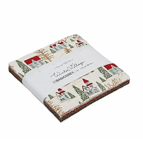 Winter Village Charm Pack by BasicGrey; 42-5 Inch Precut Fabric Quilt Squares United Notions 30550PP