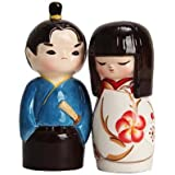 JAPANESE KOKESHI COUPLE CERAMIC MAGNETIC SALT PEPPER SHAKERS by Attractives