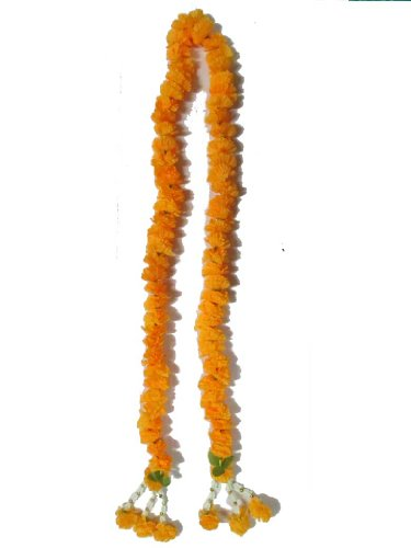 Thai Artificial Yellow Marigold Garland / Size : 1m by thai garland