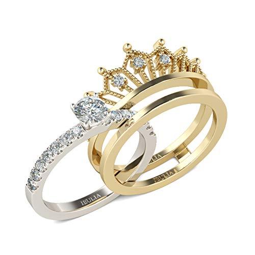 Jeulia 2 Stück Krone Damen Ringe Set Vergoldet Sterling Silber Verlobungsring Rundschliff Zirkonia Diamant Solitärring Antragsring Vorsteckring Mit Geschenkbox
