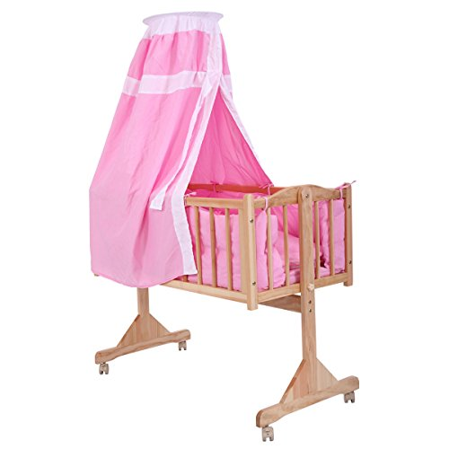 JAXPETY Baby Crib Infant Toddler Bed Cot Nursery Furniture Mattress Cradle Safety Pink from JAXPETY