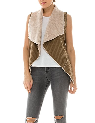 Fur Suede Coat Faux (BOHENY Womens Faux Fur Shearling Fully Lined Suede Vest Coat with Stripe Textured-S-CAMEL)