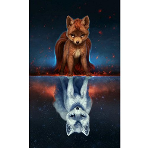 Iuhan 5D DIY Fox Diamond Painting Embroidery Square Diamond Home Decor Cross Stitch (30cmx45cm, (Fox Square)