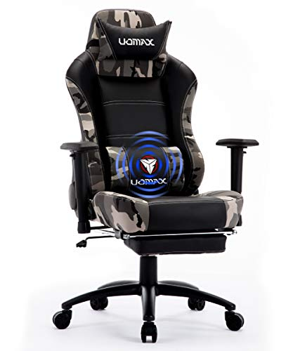 UOMAX Gaming Chair Big and Tall Ergonomic Rocking Desk Chair for Computer, Racing Style Office Chair Recliner with Footrest and Massage Lumbar Support, PU Leather E-Sports Game Seat for Gamer. (Camo)