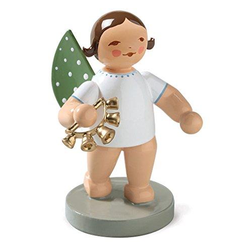 Wendt & Kuhn Brunette Hand Painted Grunhainichen Angel Bell Wreath Figurine Standing
