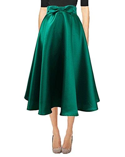 Idgreatim Femmes t Vintage jupes A-ligne vase taille haute bowknot genou pliss longueur des jupes Midi Vert