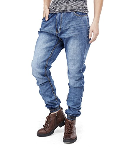 PY-BIGG Mens Jeans Relaxed Fit Big Tall Cuffed Leg Gathered Casual Jogger Pants Workwear Plus Size 31L 30W-46W (36, Blue-A)