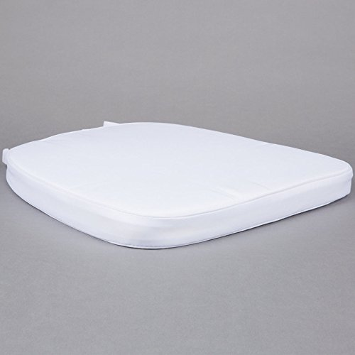 Chair Pad | Seat Padded Cushion with a Polycore Thread Soft Fabric,  Straps and Removable Zippered Cover (Pure White)