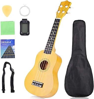 JIAN YA NA Principiante Ukelele 21 pulgadas Hawaiian Uke Mini Guitarra Starter Kit con funda, cuerdas, afinador, selección: Amazon.es: Instrumentos musicales