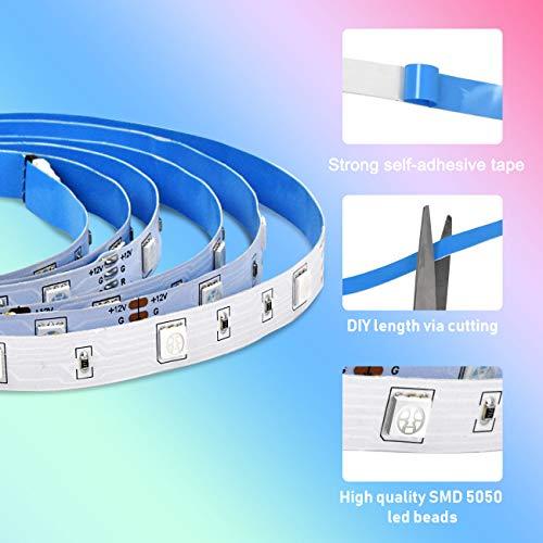 Tiras de LED de 5 m Aogled,kit de cambio de color RGB 5050 LED con control remoto de 24 botones,tiras de luz LED de estado de ánimo para decoración interior y exterior