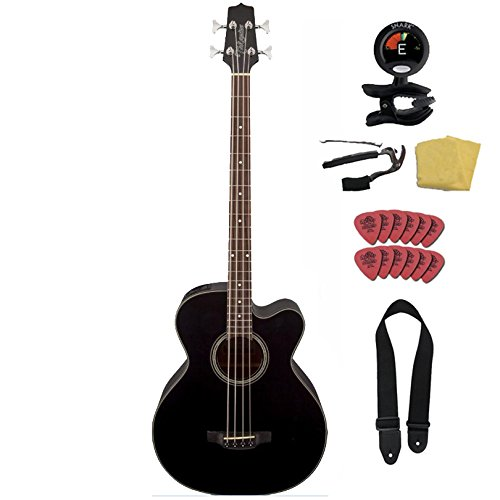Takamine G Series GB30CE-BLK Jumbo Acoustic Electric Bass Guitar Bundle, Venetian Cutaway, Black ()