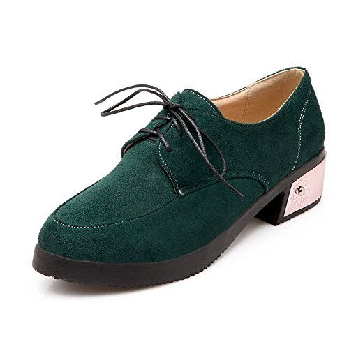 Lace Closed Round Shoes Imitated Women's Green Low WeiPoot Solid Toe Heels Pumps Suede up HF1qB0z